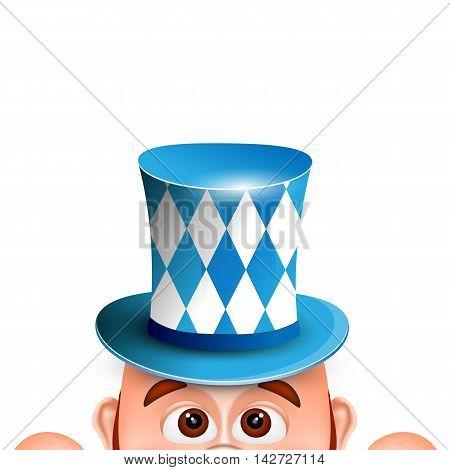 Cartoon Leprechaun in a bavarian hat. Card for Oktoberfest. Vector illustration.