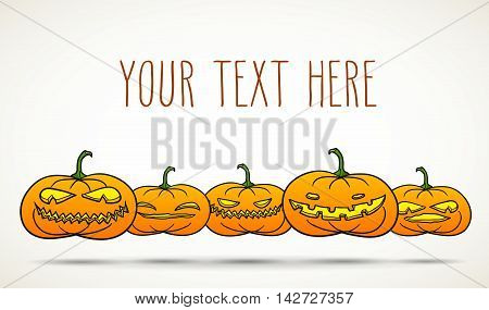 Set of Halloween pumpkins isolated on white with room for your text.