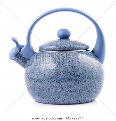 Blue enamel kettle isolated on white background