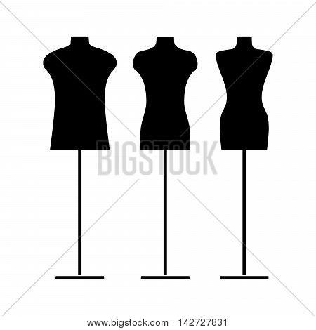 Vector illustration of a black tailor s mannequin