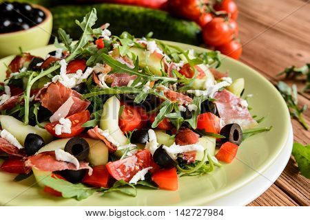Vegetable Salad With Black Forest Ham, Arugula, Cucumber, Black Olives, Red Pepper, Tomato And Mozza