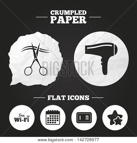 Crumpled paper speech bubble. Hotel services icons. Wi-fi, Hairdryer and deposit lock in room signs. Wireless Network. Hairdresser or barbershop symbol. Paper button. Vector