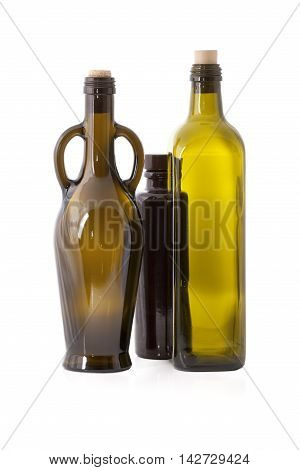 Three empty bottles isolated on white background