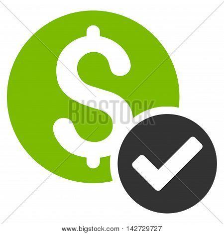 Approved Payment icon. Vector style is bicolor flat iconic symbol with rounded angles, eco green and gray colors, white background.