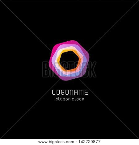 Isolated abstract purple color polygon vector logo. Geometric shape logotype on the black background. Repairman equipment icon. Screw illustration.