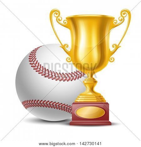 Realistic Golden Trophy Cup and Baseball Ball. Isolated on White Background. Winner Cup. Vector Illustration