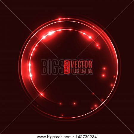 Energy abstract background with luminous red swirling of glow circles. Glowing spiral circles in motion. Vector illustration
