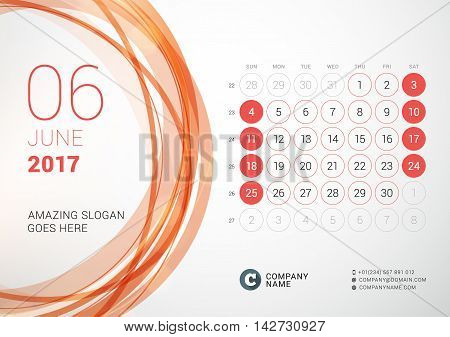 Desk Calendar For 2017 Year. June. Week Starts Sunday. Vector Design Print Template With Abstract Ci