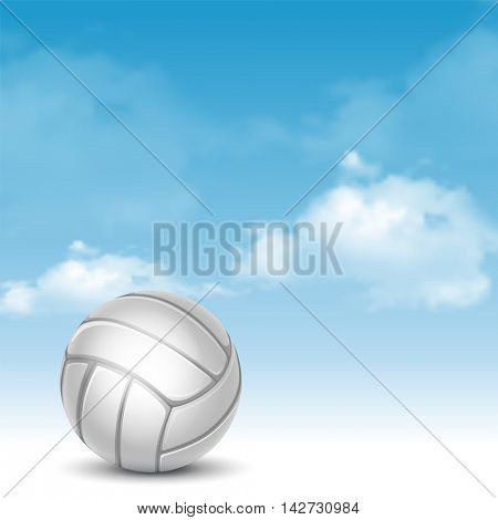Volleyball Ball on Cloudy Sky Background. Realistic Vector Illustration.