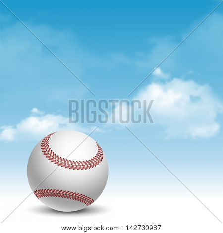 Baseball Ball on Cloudy Sky Background. Realistic Vector Illustration.