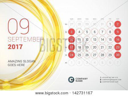 Desk Calendar For 2017 Year. September. Week Starts Sunday. Vector Design Print Template With Abstra