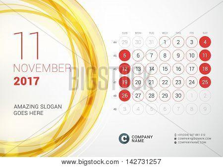 Desk Calendar For 2017 Year. November. Week Starts Sunday. Vector Design Print Template With Abstrac
