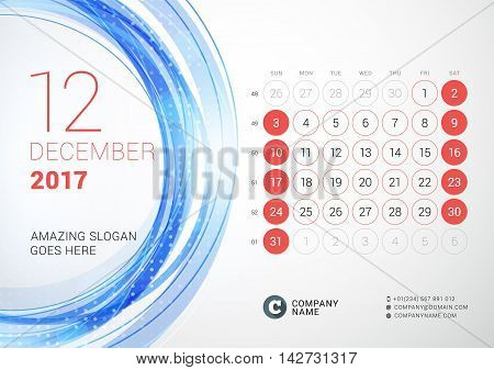 Desk Calendar For 2017 Year. December. Week Starts Sunday. Vector Design Print Template With Abstrac