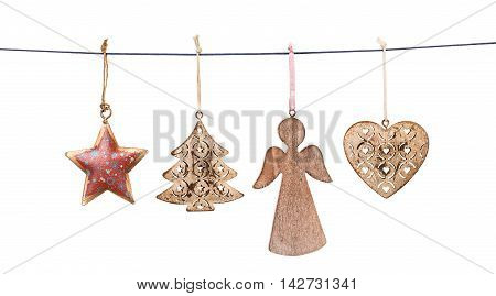 Christmas decorations hanging on string isolated on white background