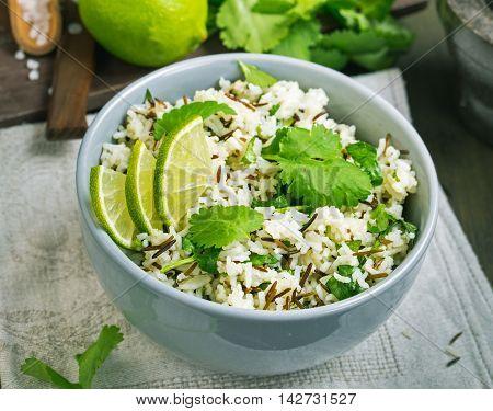 Bowl of cilantro lime basmati rice above