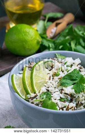 Bowl of cilantro lime basmati rice closeup