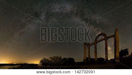 Panoramic of  the Milky Way over Templo de los Marmoles