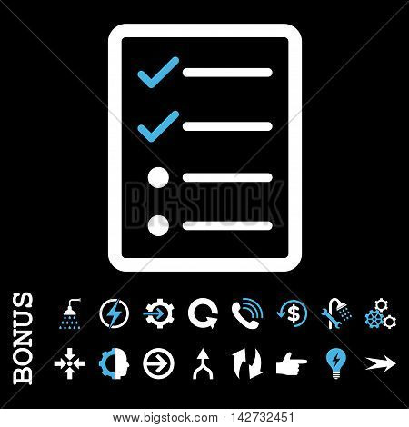 Checklist Page vector bicolor icon. Image style is a flat iconic symbol, blue and white colors, black background.