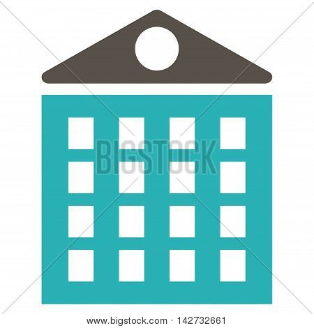 Multi-Storey House icon. Vector style is bicolor flat iconic symbol with rounded angles, grey and cyan colors, white background.
