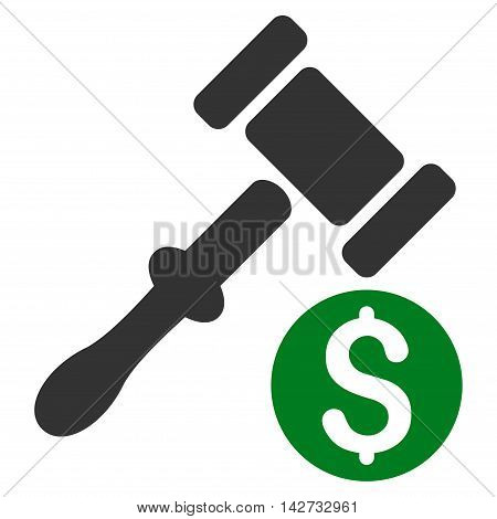 Auction icon. Vector style is bicolor flat iconic symbol with rounded angles, green and gray colors, white background.