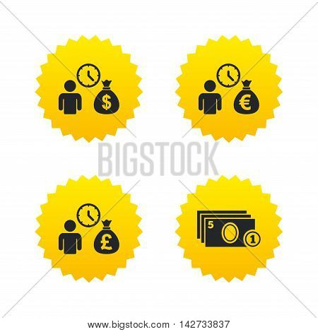 Bank loans icons. Cash money bag symbols. Borrow money sign. Get Dollar money fast. Yellow stars labels with flat icons. Vector