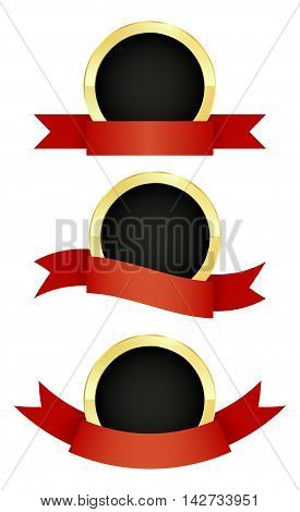 vector set of round golden emblem with red ribbons of different types