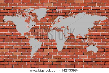 World map on a brick wall - Illustration,   Brick wall texture background Soft tone gray color with world map,  Abstract brick world map on the wall
