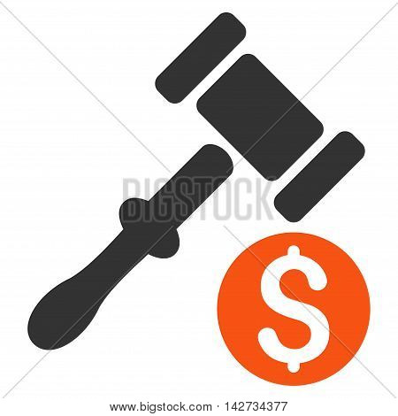 Auction icon. Vector style is bicolor flat iconic symbol with rounded angles, orange and gray colors, white background.