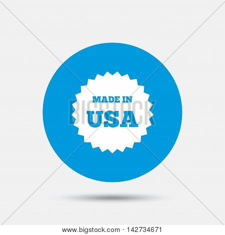 Made in the USA icon. Export production symbol. Product created in America sign. Blue circle button with icon. Vector