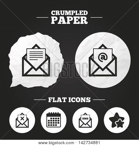 Crumpled paper speech bubble. Mail envelope icons. Message document symbols. Post office letter signs. Delete mail and SMS message. Paper button. Vector