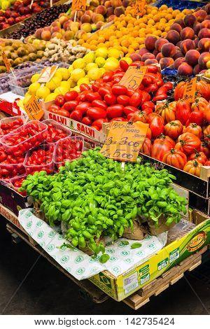 Greengrocer Stall In The Mercato Orientale Market Of Genova. Ita