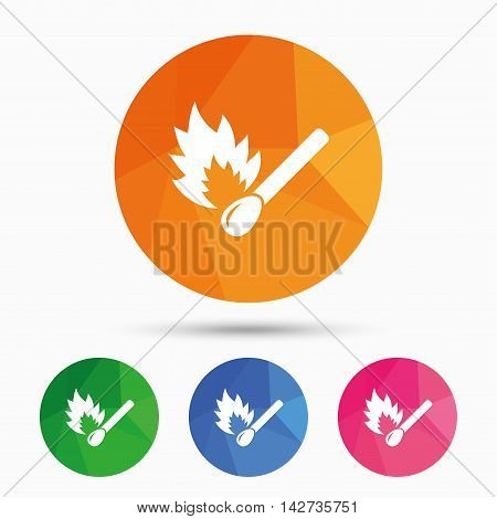 Match stick burns icon. Burning matchstick sign. Fire symbol. Triangular low poly button with flat icon. Vector