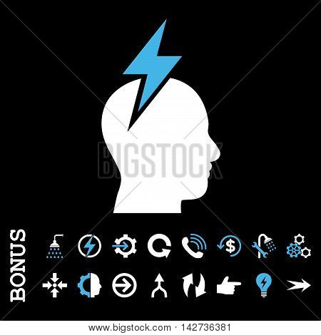 Headache vector bicolor icon. Image style is a flat iconic symbol, blue and white colors, black background.