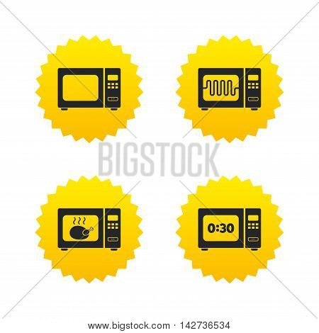 Microwave oven icons. Cook in electric stove symbols. Grill chicken with timer signs. Yellow stars labels with flat icons. Vector