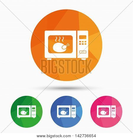 Microwave oven sign icon. Roast chicken. Kitchen electric stove symbol. Triangular low poly button with flat icon. Vector