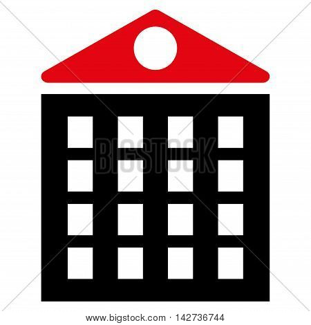 Multi-Storey House icon. Vector style is bicolor flat iconic symbol with rounded angles, intensive red and black colors, white background.