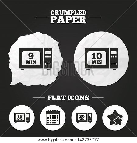 Crumpled paper speech bubble. Microwave oven icons. Cook in electric stove symbols. Heat 9, 10, 15 and 20 minutes signs. Paper button. Vector