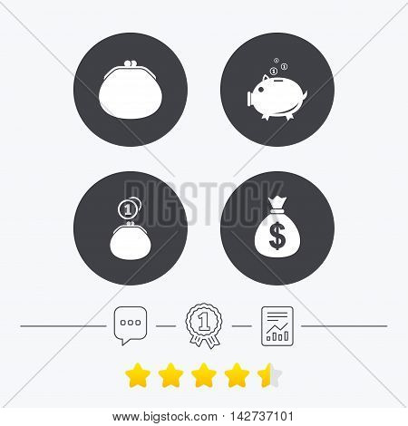 Wallet with cash coin and piggy bank moneybox symbols. Dollar USD currency sign. Chat, award medal and report linear icons. Star vote ranking. Vector