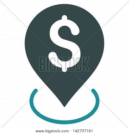 Bank Placement icon. Vector style is bicolor flat iconic symbol with rounded angles, soft blue colors, white background.
