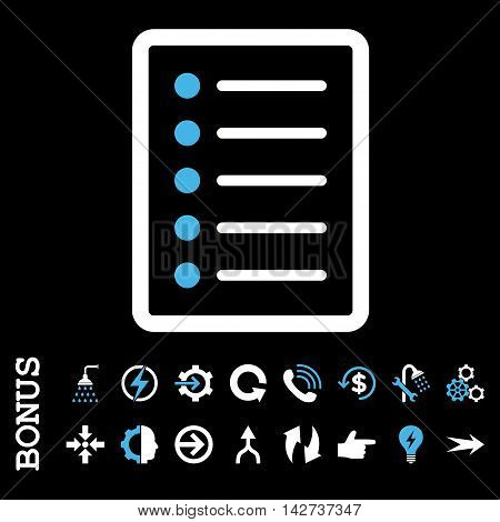 List Page vector bicolor icon. Image style is a flat iconic symbol, blue and white colors, black background.