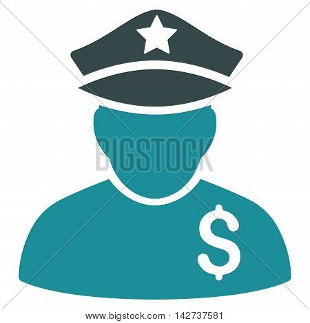 Financial Policeman icon. Vector style is bicolor flat iconic symbol with rounded angles, soft blue colors, white background.