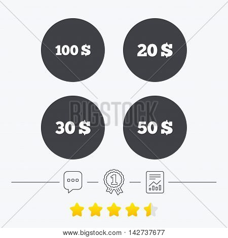 Money in Dollars icons. 100, 20, 30 and 50 USD symbols. Money signs Chat, award medal and report linear icons. Star vote ranking. Vector