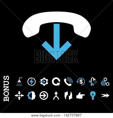 Phone Hang Up vector bicolor icon. Image style is a flat pictogram symbol, blue and white colors, black background.