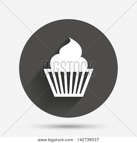 Muffin sign icon. Cupcake symbol. Circle flat button with shadow. Vector