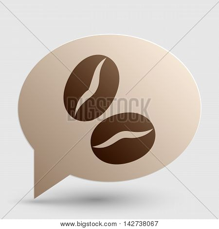 Coffee beans sign. Brown gradient icon on bubble with shadow.