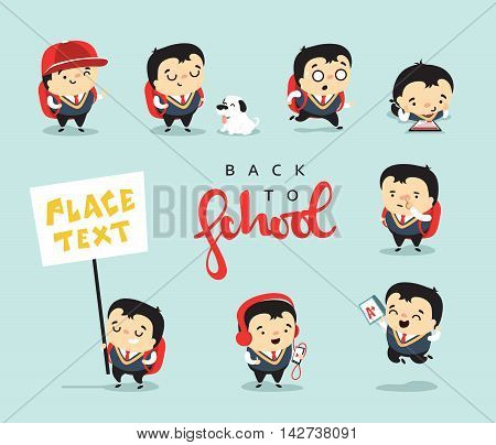 School isolated characters. Student with different emotions, smile rage. Set modern schoolboy character. Funny cute baby boy. Cartoon man back to school. Doodle kids concept vector illustration