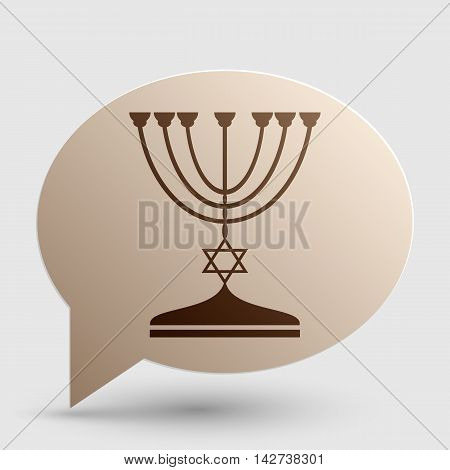 Jewish Menorah candlestick in black silhouette. Brown gradient icon on bubble with shadow.
