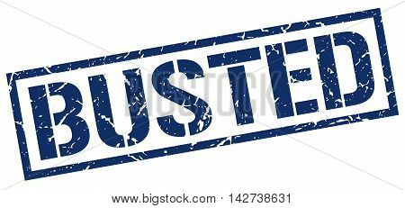 busted stamp. blue grunge square isolated sign