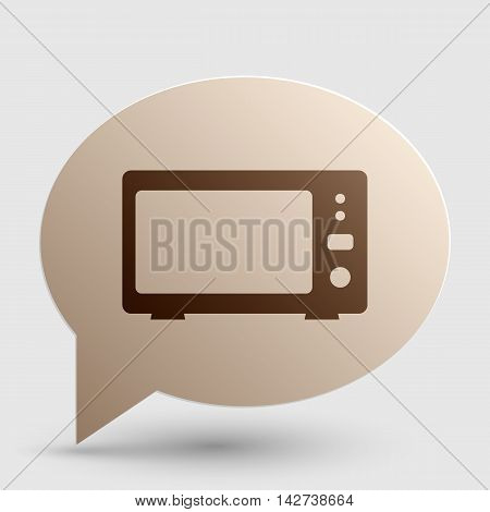 Microwave sign illustration. Brown gradient icon on bubble with shadow.