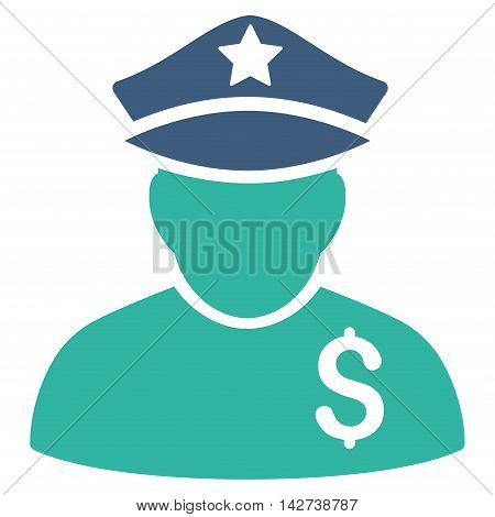 Financial Policeman icon. Vector style is bicolor flat iconic symbol with rounded angles, cobalt and cyan colors, white background.